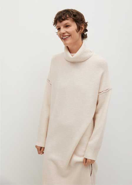 Mango - light beige Knitted turtleneck dress