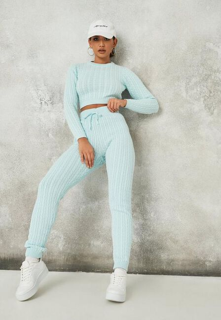 Missguided - Blue Blue Co Ord Ribbed Knit Leggings