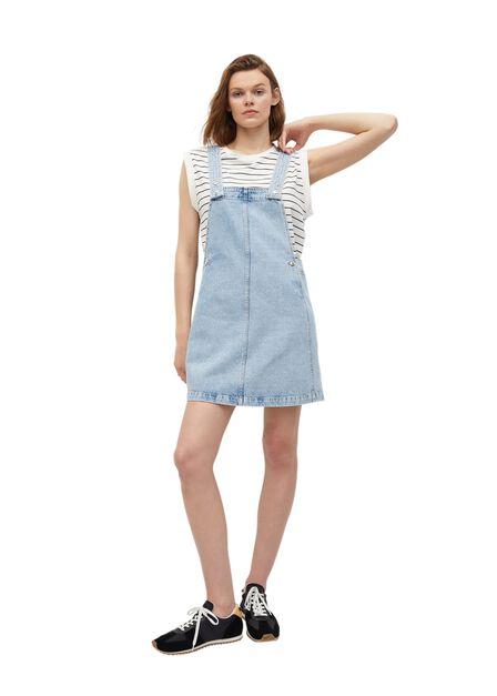Mango - open blue Light denim pinafore dress, Women