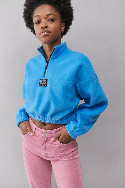 Urban Outfitters - Turquoise Iets Frans'.. Varsity Fleece Track Sweatshirt