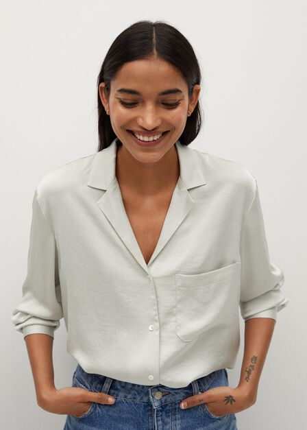 Mango - natural white Satin short shirt