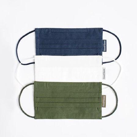 GOODGUISE - Goodguise Organic + Sustainable Face Masks Navy/Olive/Off-White [Pack of 3]