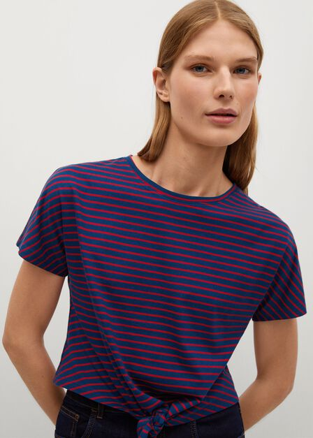 Mango - navy Knot organic cotton T-shirt
