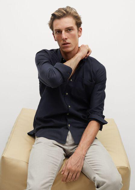 Mango - navy Slim fit modal cotton shirt