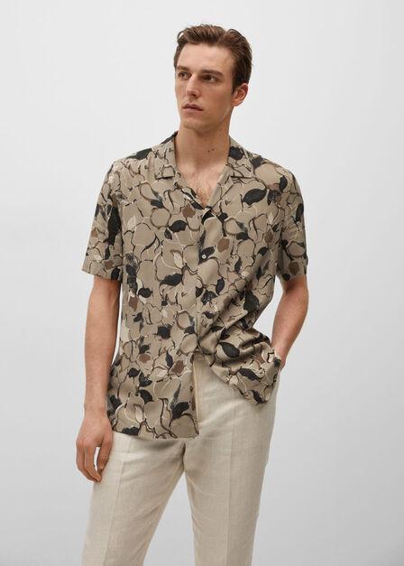 Mango - Lt-Pastel Brown Printed Flowy Shirt, Men