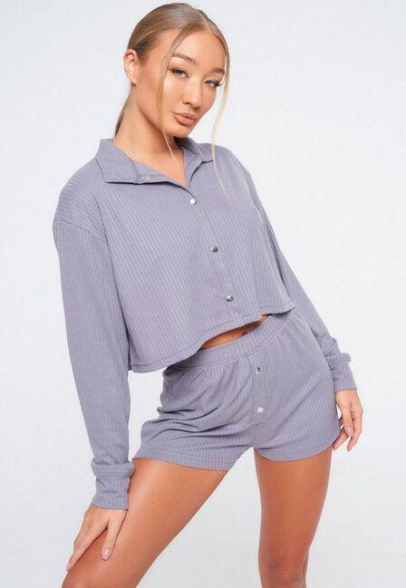 Missguided - Grey Rib Soft Touch Crop Shirt Short Pyjama Set