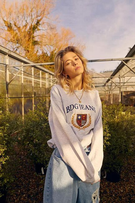 Urban Outfitters - Light Grey BDG Embroidered Crest Sweatshirt