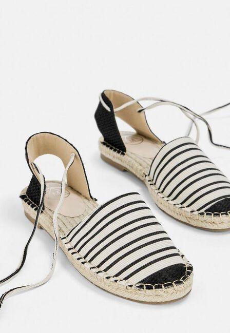 Missguided - Black Black Striped Flat Espadrille Shoes
