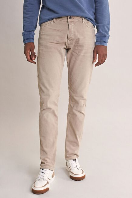 Salsa Jeans - Beige Clash slim carrot jeans with rips