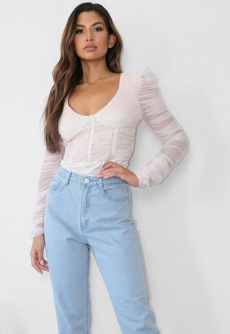 Missguided - Stone Ruched Mesh Corset Bodysuit