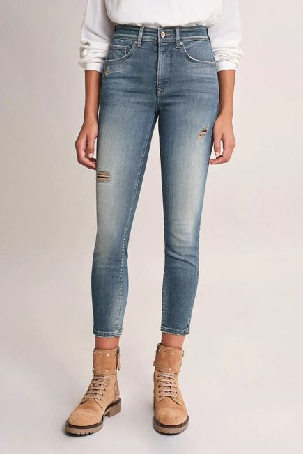 Salsa Jeans - Blue Push In Secret Glamour cropped Jeans with rips