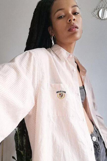 Urban Outfitters - Peach BDG Sadie Stripe Boyfriend Shirt