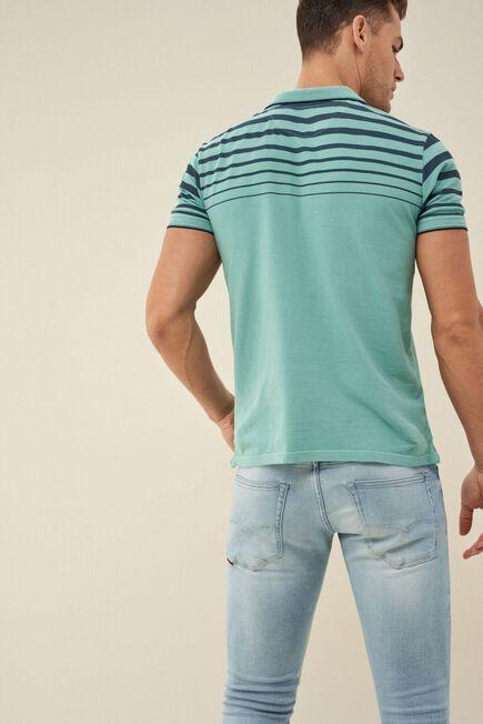 Salsa Jeans - Blue Regular fit polo shirt with stamp on shoulder