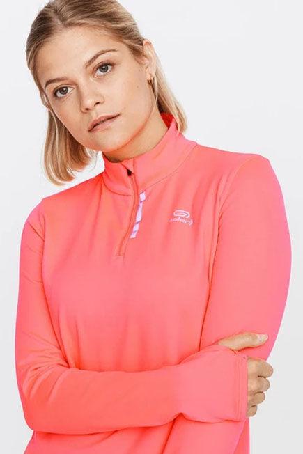 KALENJI - Run warm women's running long-sleeved jersey - coral