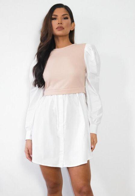 Missguided - Stone Sweater Insert Puff Sleeve Shirt Dress
