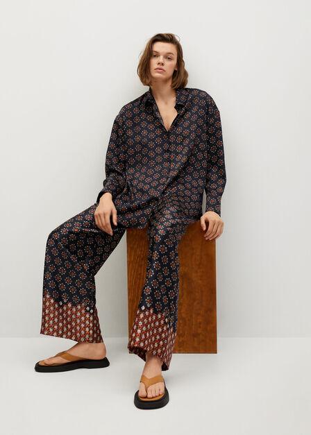 Mango - black Printed flowy shirt