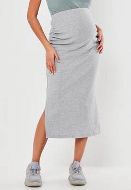 Missguided - Black Rib Split Side Maternity Midi Skirt