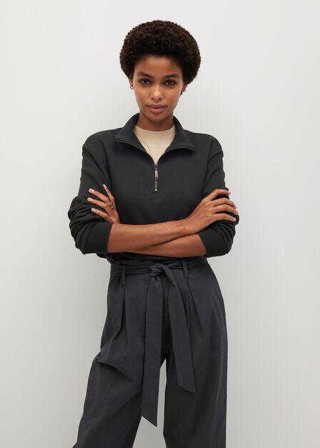 Mango - Charcoal Belt Crop Trousers