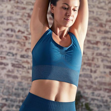 DOMYOS - Large  Seamless Long Dynamic Yoga Sports Bra, Dark Petrol Blue