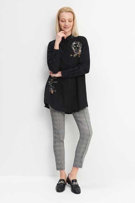 Mohito -  Oversize Printed Shirt - Black