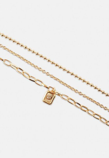 Missguided - Gold Look Stone Tag Bracelet