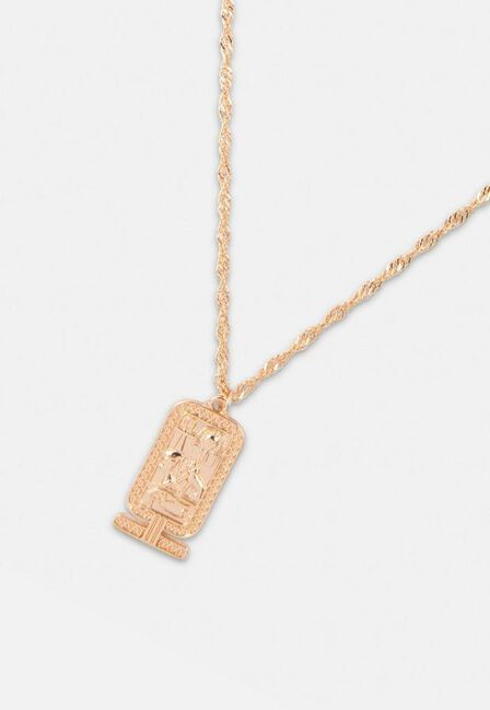 Missguided - Gold Look Tag Pendant Necklace, Women