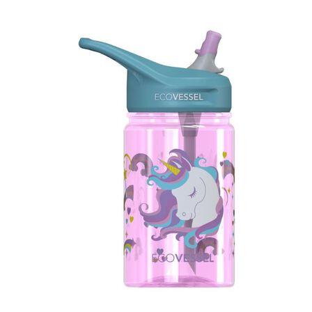ECO VESSEL - EcoVessel Unicorn splash Kids Water Bottle With Flip Straw 350 ml