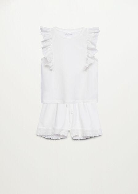 Mango - natural white Embroidered cotton short pyjamas