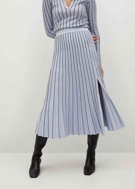 Mango - medium blue Stripes pleated skirt