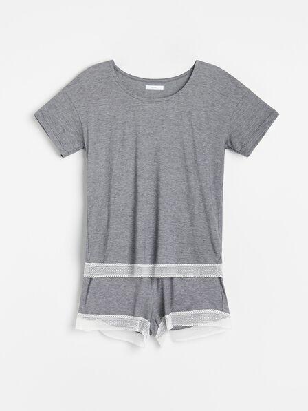 Reserved - Black Organic cotton rich pyjama set with shorts