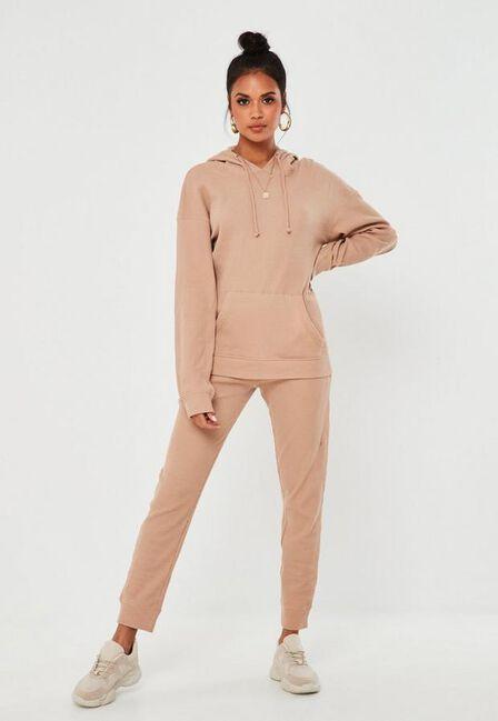 Missguided - Camel Waffle Texture Oversized Loungewear Set