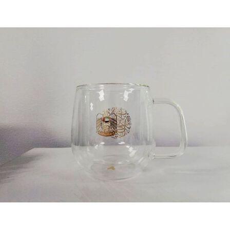 ROVATTI - Rovatti Nevoso Double Glass Nescafe Cup Gold 350ml