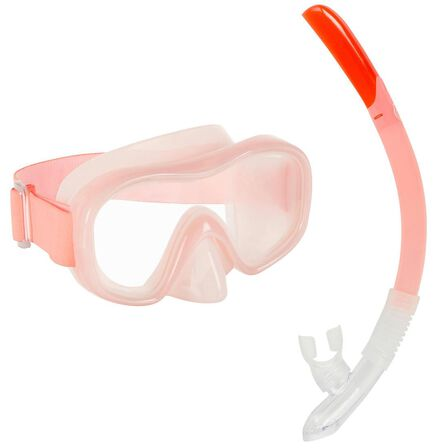 "SUBEA - Small  Kidsأ¢â'¬â""¢ Mask and Snorkel snorkelling Kit SNK 520 neon, Fluo Pale Peach"