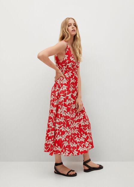 Mango - Red Printed Cut-Out Detail Dress, Women