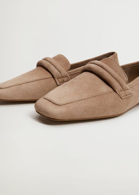 Mango - medium brown Leather penny loafers, Women