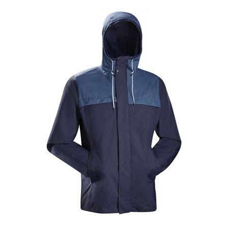 FORCLAZ - Extra Large  Men's Travel Trekking 3in1 Jacket TRAVEL 100, Asphalt Blue
