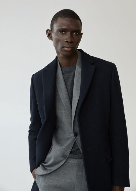Mango - navy Tailored wool-blend overcoat