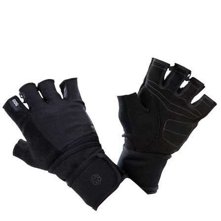 DOMYOS - Large  900 Weight Training Glove with Double Rip-Tab Cuff - Black/Grey, Black