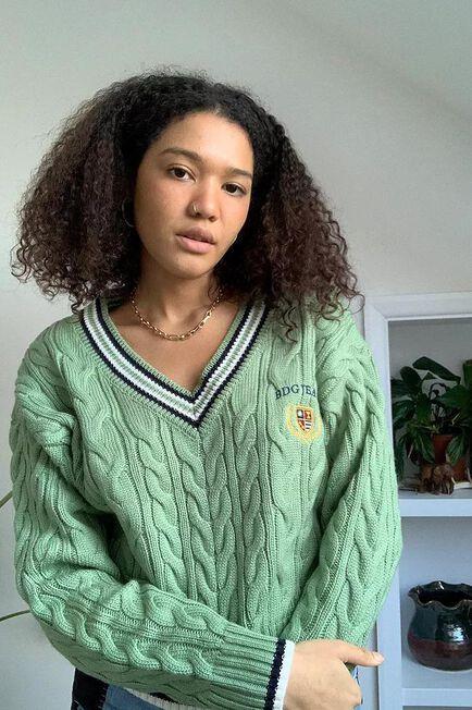 Urban Outfitters - KHAKI BDG V-Neck Cable Knit Varsity Jumper