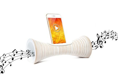 MANGOBEAT - Mangobeat Natural Speaker for Smartphones Striped White [25 cm]