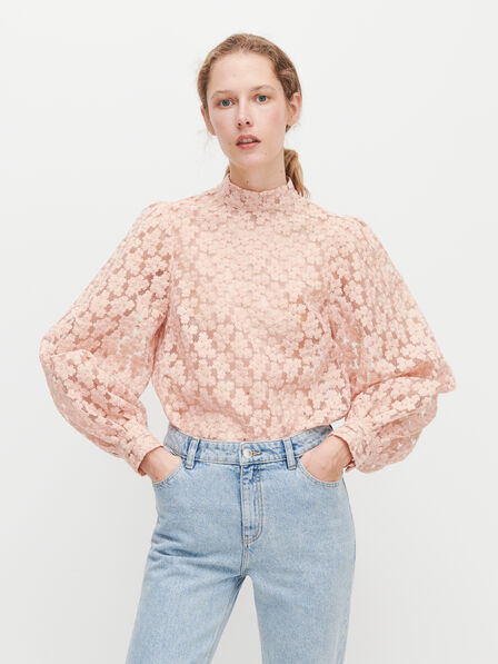 Reserved - Mesh blouse with embroidery - Pink