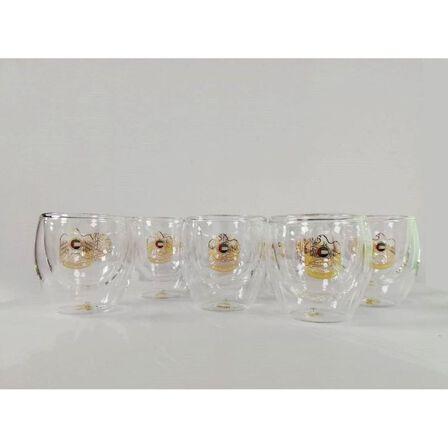 ROVATTI - Rovatti Nevoso Double Glass Arabic Coffee Cup Gold 100ml