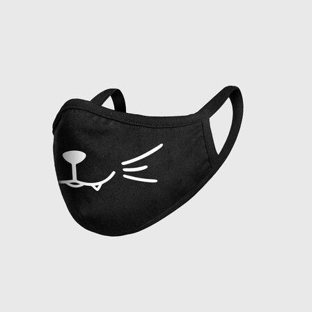 MISTER TEE - Mister Tee Smiling Cat Kids' Face Mask Black