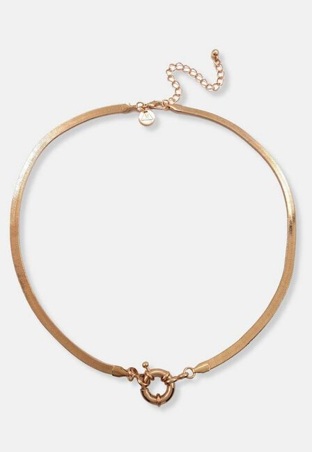 Missguided - Gold Gold Look Flat Snake Clasp Necklace