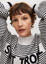 Mango - Medium blue Striped cotton-blend sweater