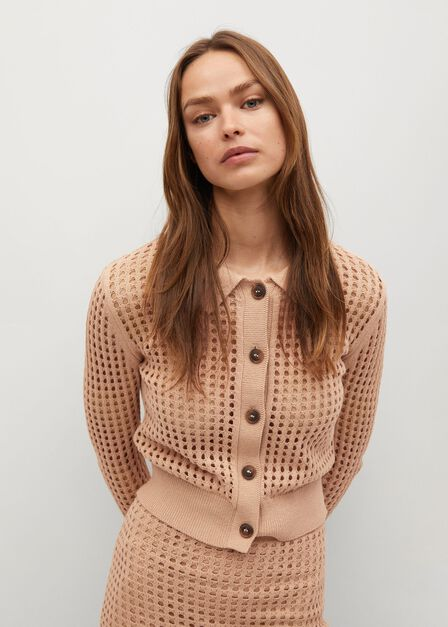 Mango - lt pastel brown Cotton crochet cardigan