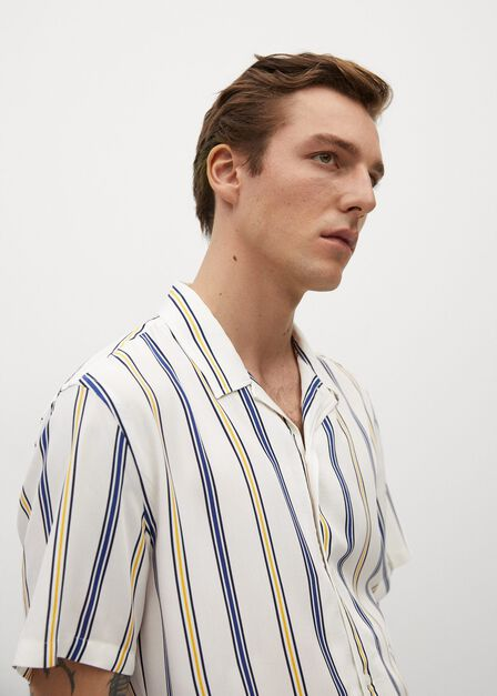Mango - white Striped flowy shirt