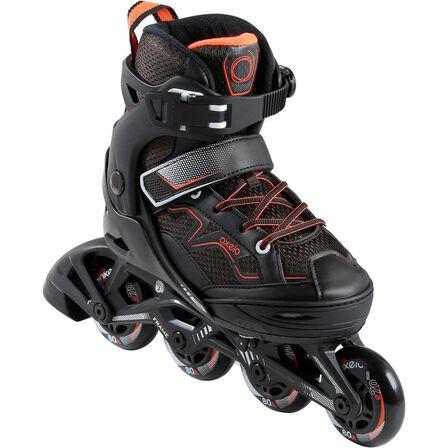 OXELO - EU 32-35  Fit 3 Kids' Fitness Skates, Fluo Blood Orange
