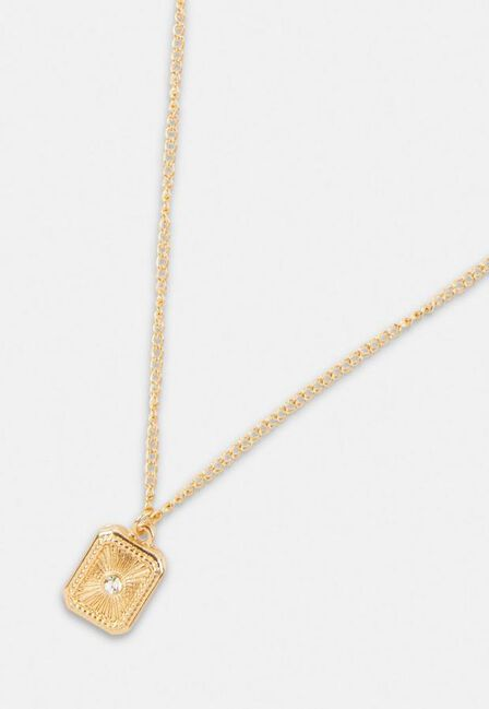 Missguided - Gold Look Stone Tag Edge Pendant Necklace