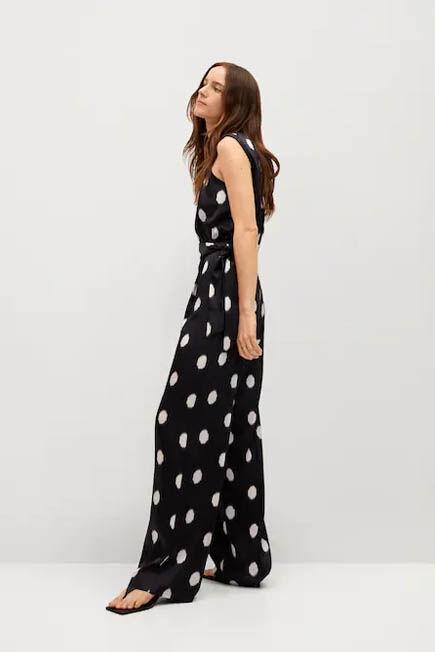 Mango - black Polka-dot belt jumpsuit